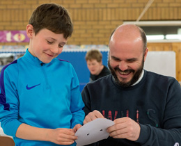 Photo of father and son taking part in the Star Wars Fathers Project at Sanquhar Primary